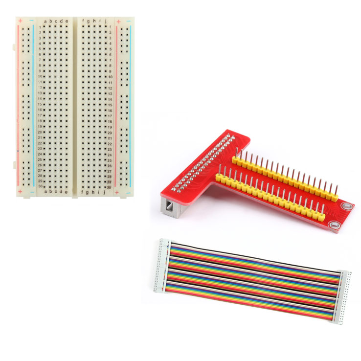 T Type GPIO Breakout board with 40 pin Cable and 400 holes Breadboard for Raspberry Pi 3 2 Model B model B+ | Pakistan