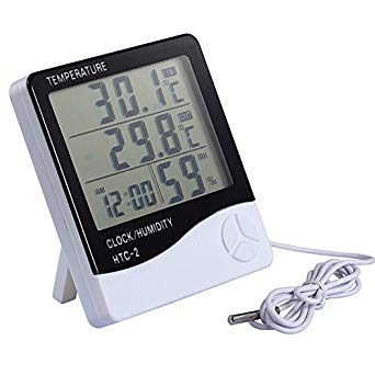 HTC-2 Hygrometer Temperature and Humidity Meter Thermometer clock alarm clock | Pakistan