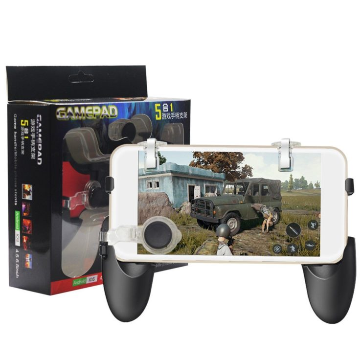 5 in 1 Gamepad Controller For PUBG Mobile PUBG Trigger Adjustable Black Gamepad Joystick | In Pakistan