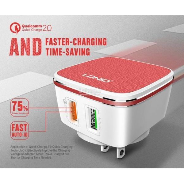 A2405Q 2 Usb Charger 5V-4.3A Quick Charge Universal Qc 2.0 Usb With Iphone Io Cable | In Pakistan