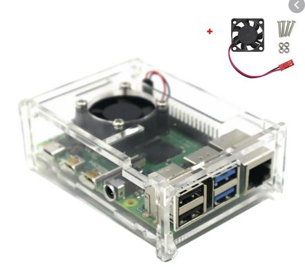 Raspberry Pi 4 Model B Transparent Acrylic Housing With Cooling Fan