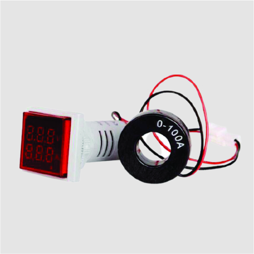 Square Digital AC Voltmeter Ammeter 50-600V 100A 22mm LED Current Indicator Voltage Meter micro